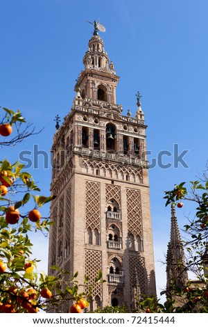 Famous Cathedral of Sevilla in Andalucia, Spain, UNESCO World Heritage Site. - stock photo