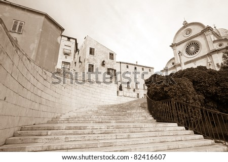 Famous cathedral of St. James and staircase in Sibenik, Croatia