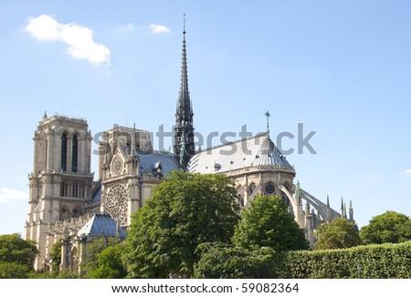 Famous catholic church Notre Dame de Paris - stock photo
