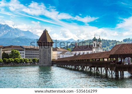 Famous Chapel bridge in Lucerne in a beautiful summer day, Switzerland