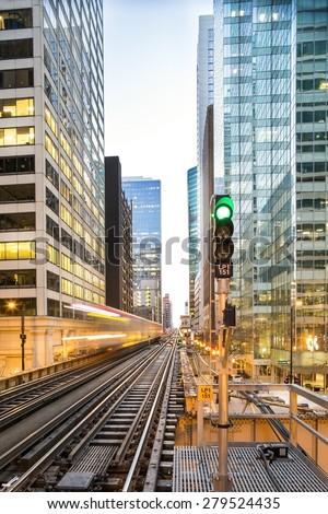 Famous Chicago train arrives, Illinois, USA - stock photo