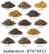 Famous chinese black tea varieties (also known as red tea) isolated on white - stock photo