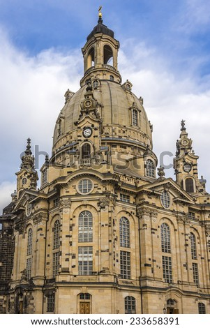 Famous Church Frauenkirche (Church of Our Lady, architect George Bahr) in Dresden. Dresden - the capital of the German state of Saxony. - stock photo