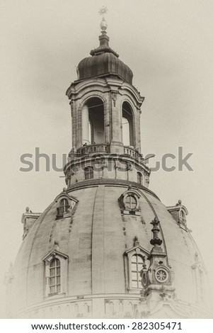 Famous Church Frauenkirche (Church of Our Lady, architect George Bahr) in Dresden. Dresden - the capital of the German state of Saxony. Antique vintage. - stock photo