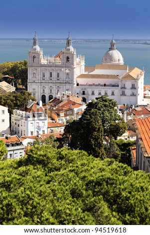 famous Church of St. Vicent in Lisbon, Portugal - stock photo