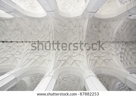 Famous cities in  Poland - Gdansk - Danzig. White Gothic vault in Cathedral. Monument in Old Town. - stock photo