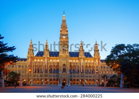 Famous City Hall in the evening, Vienna, Austria - stock photo