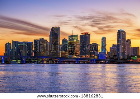 Famous cIty of Miami, Florida, summer sunset - stock photo