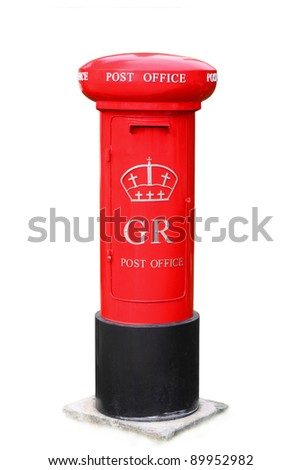 Famous classic red London post box isolated on white - stock photo
