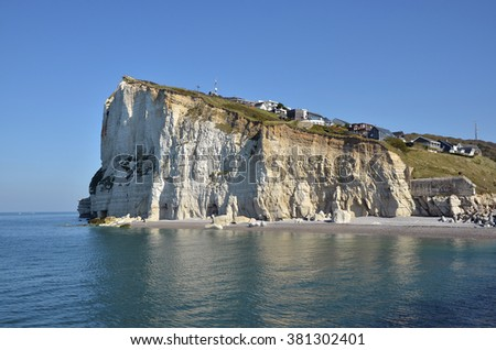 Famous cliff of  Fecamp, commune in the Seine-Maritime department in the Haute-Normandie region in northwestern France - stock photo