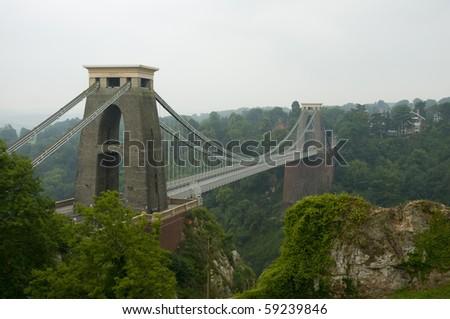 Famous Clifton Suspension Bridge - stock photo