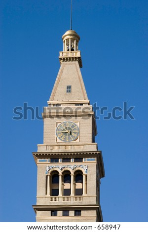 Famous clock tower in Downtown Denver Colorado. - stock photo