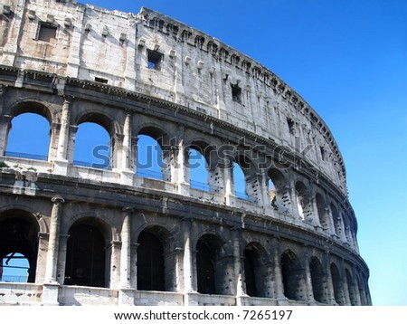 Famous Colosseum - Flavian Amphitheatre, Rome, Italy - stock photo