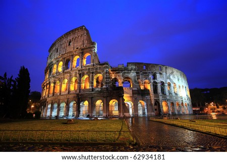 Famous Colosseum in Rome , Italy at twilight - stock photo