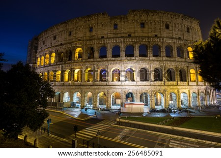 Famous Colosseum taken at night when the structure is still lit up.