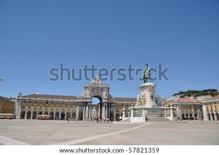 famous Commerce Square also known as Terreiro do Paco in Lisbon, Portugal (statue of King Jose I in the center) - stock photo