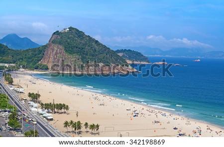 Famous Copacabana beach in Rio de Janeiro, Brasil - stock photo