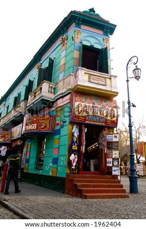 Famous corner of Caminito - La boca district of Buenos Aires - stock photo