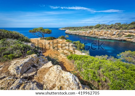 Famous cove of Cala Pi, Mallorca, Spain, Europe - stock photo