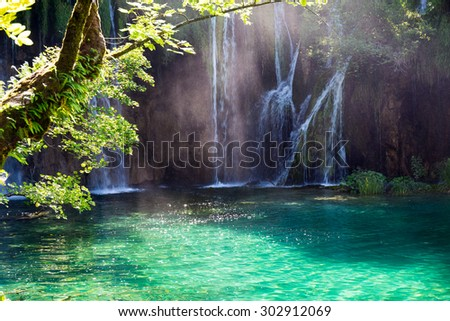 Famous Croatian Plitvice Lakes National Park in Europe - stock photo