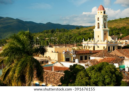 Famous Cuban city Trinidad with old church tower Convent of Saint Assisi. - stock photo