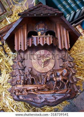 Famous Cuckoo Clock From The Black Forest  Germany for sale in a market - stock photo