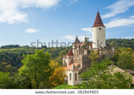 Famous Czech medieval castle of Krivoklat, central Czech Republic - stock photo