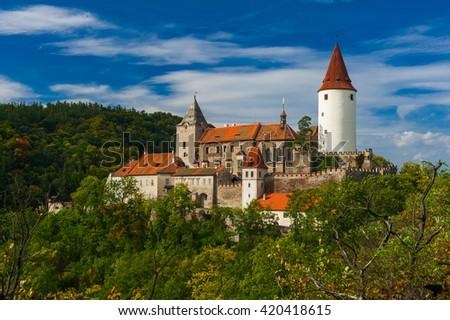 Famous Czech medieval castle of Krivoklat, central Czech Republic - stock photo