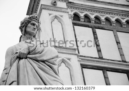 famous Dante sculpture near Santa Croce cathedral in Florence