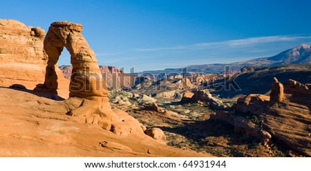 Famous Delicate Arch at sunset of Arches National Park in the Southern Utah desert