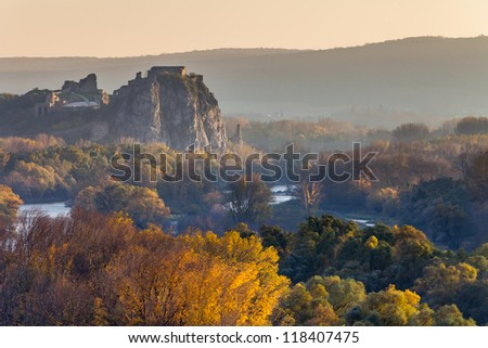 Famous Devin Castle in Slovakia, Europe - stock photo