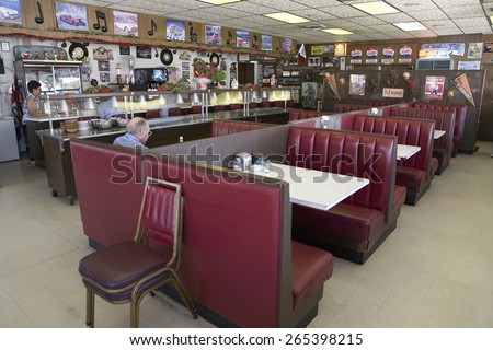 Famous diner, Hokes Cafe on old Lincoln Highway, US 30, Ogallala, Nebraska - stock photo