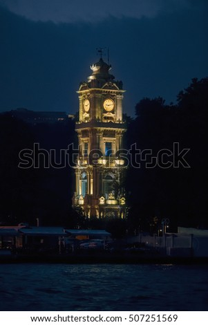 Famous Dolmabahce Clock Tower in Istanbul at night