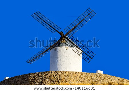 "famous ""Don Quixote Windmills"" of Consuegra, Spain - stock photo"