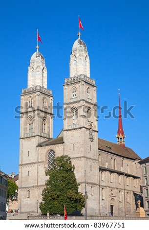 "Famous double-headed ""Grossmunster"" cathedral in Zurich, Switzerland - stock photo"