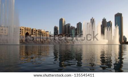 famous dubai musical fountain, United Arab Emirates - stock photo