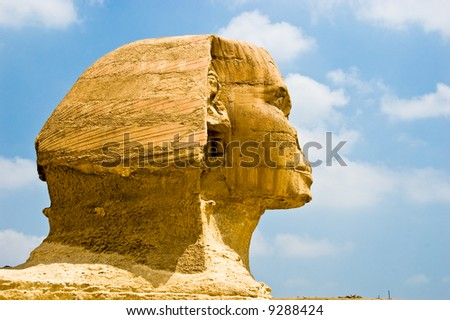 Famous Egyptian landmark - wonder of the world - Sphinx at Giza