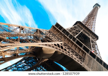 famous Eiffel Tower in Paris, France.
