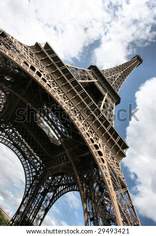 Famous Eiffel Tower in Paris. Wide angle view.