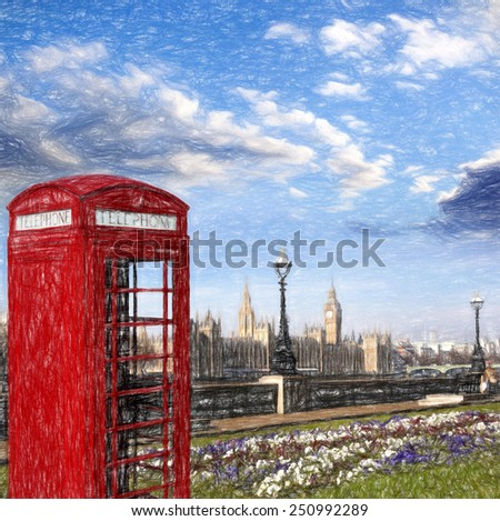 Famous English red telephone boxes with Big Ben in London, UK, ARTWORK STYLE - stock photo