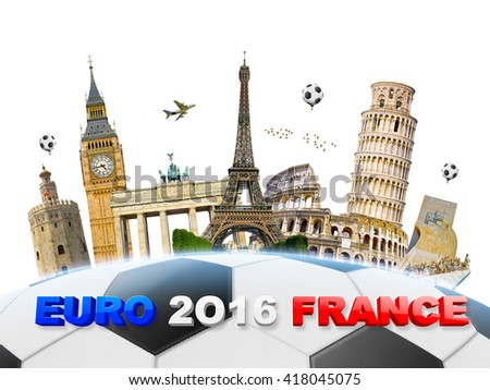 Famous european landmarks grouped together on a football - stock photo