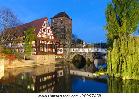 Famous Executioner's bridge at night, Nurnberg, Germany - stock photo