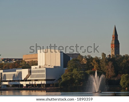 Famous Finlandia Hall lit by morning sun, view - stock photo