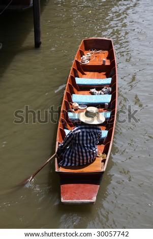 Famous Floating Market in Thailand. Damnoen Saduak near Bangkok. - stock photo
