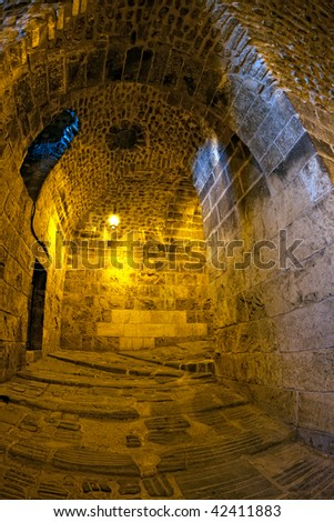 Famous fortress and citadel in Aleppo, Syria, Entrance detail.