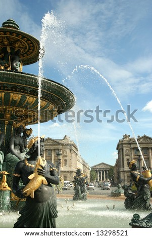 Famous fountain in Paris, France - stock photo