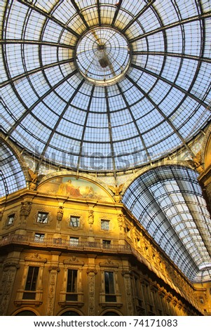 Famous Galleria Vittorio Emanuele shopping Center in Milan, Italy