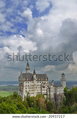 Famous German Castle Neuschwanstein in Bavaria - stock photo