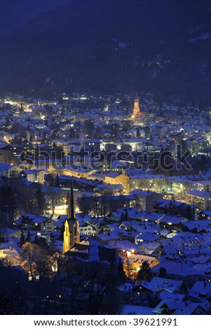famous german town Garmisch-Partenkirchen in a cold winter night - stock photo