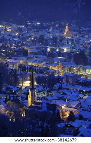 famous german town Garmisch-Partenkirchen in cold winter night - stock photo